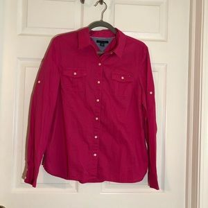 Tommy Hilfiger pink button up top
